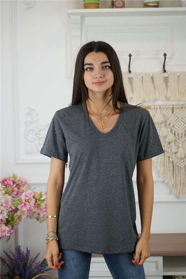 Füme V Yaka Paris T-Shirt
