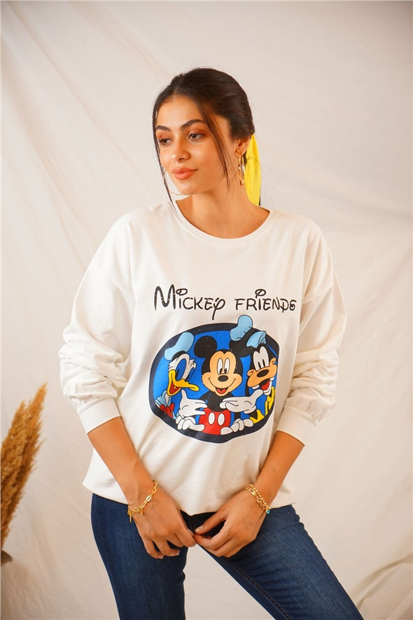 Ekru Mickey Friends Baskılı Sweat