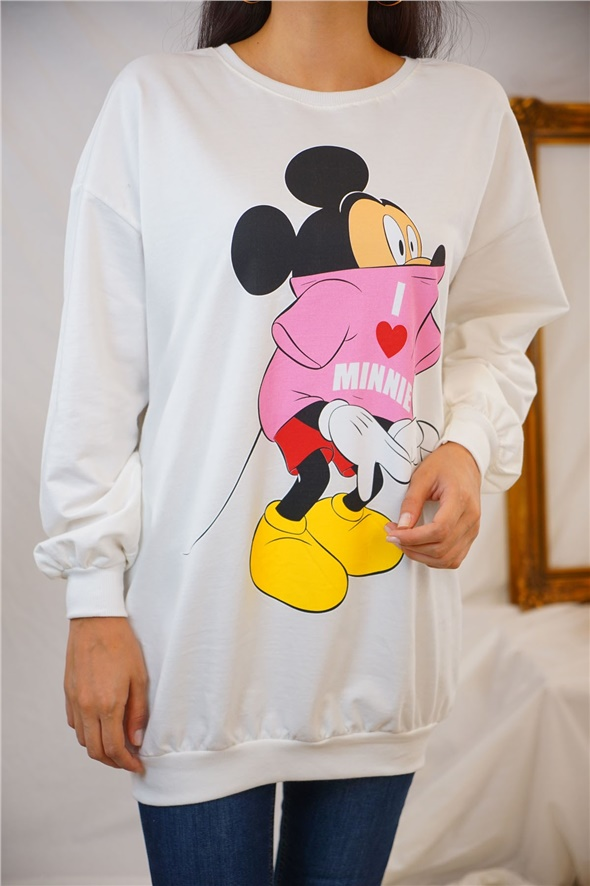 Ekru Minnie Mause Baskılı Sweat