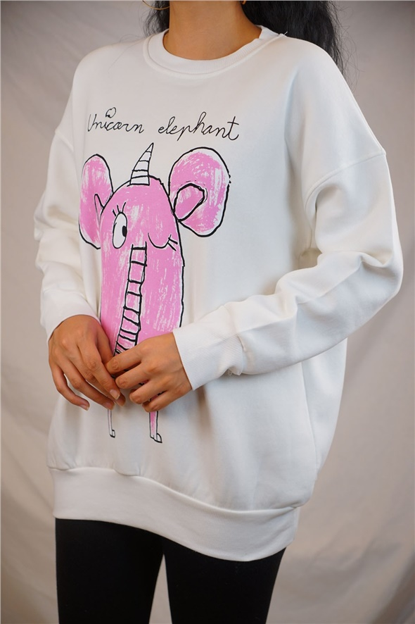 Ekru Unicorn Elephant Baskılı Sweat