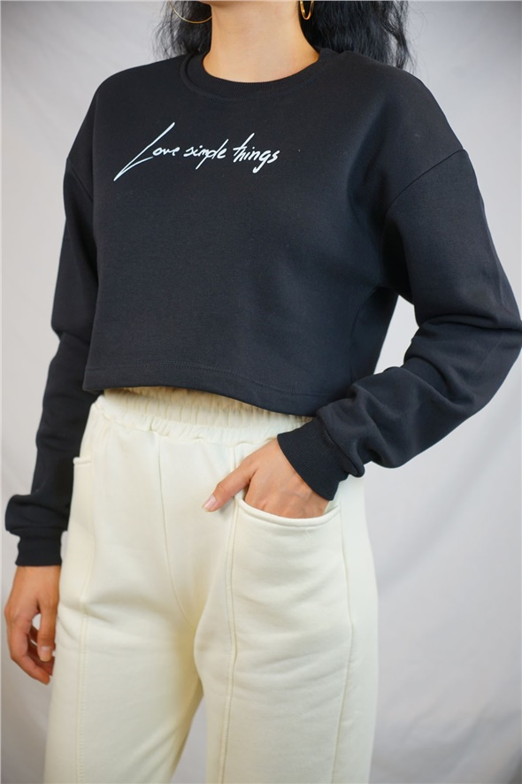 Siyah Love Simple Baskılı Sweat
