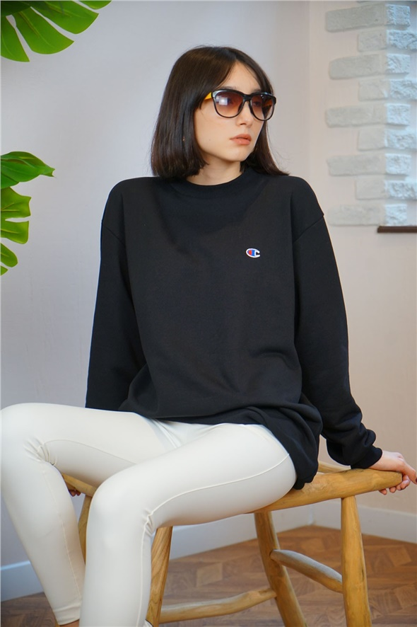 Siyah Oversize Champion Sweat